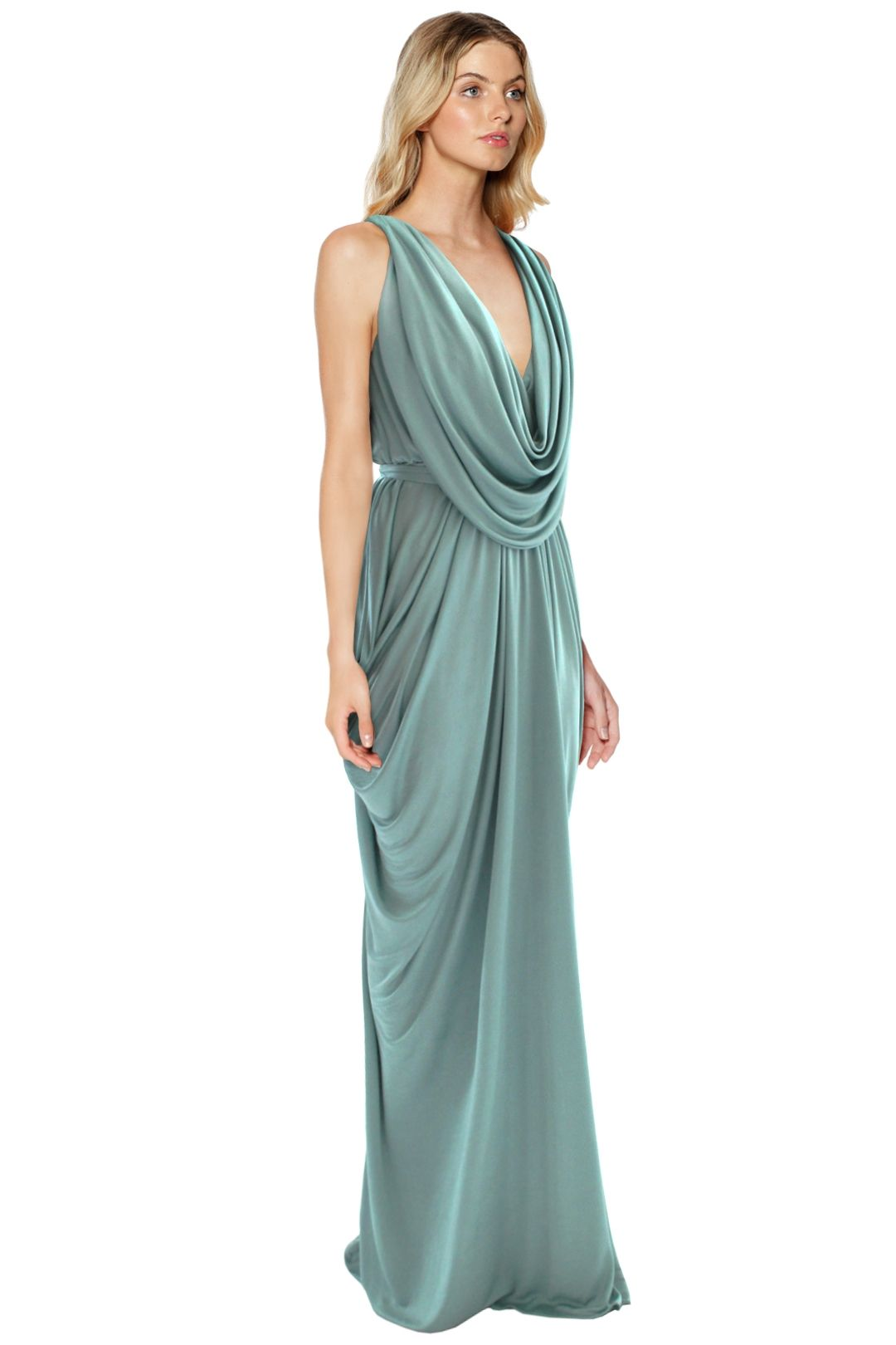 Sheike - Grecian Maxi Dress - Mint - Side