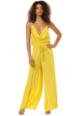Sheike - Kiss and Tell Jumpsuit - Yellow Mustard - Front
