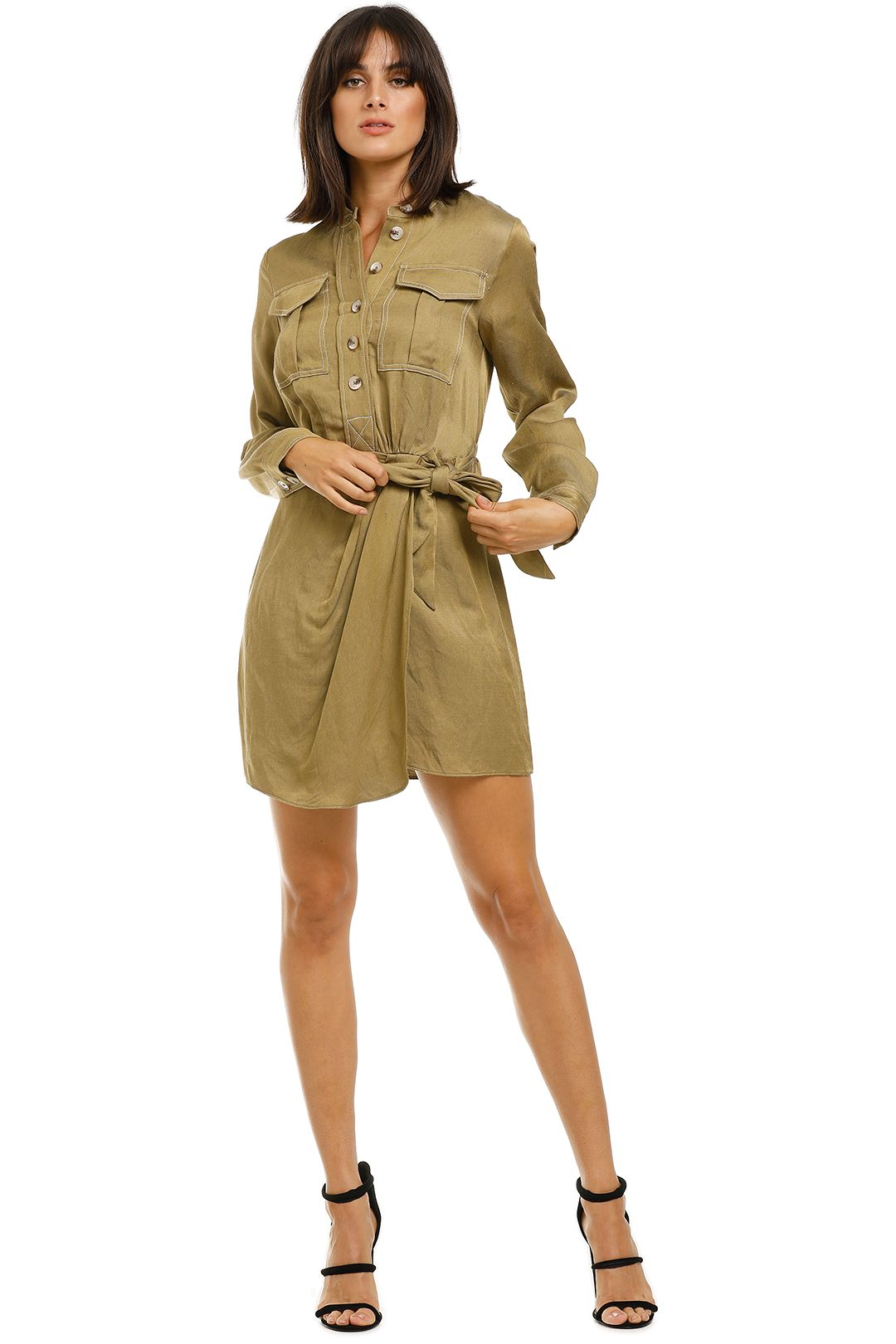 Shona-Joy-Ellington-Draped-Mini-Shirt-Dress-Front