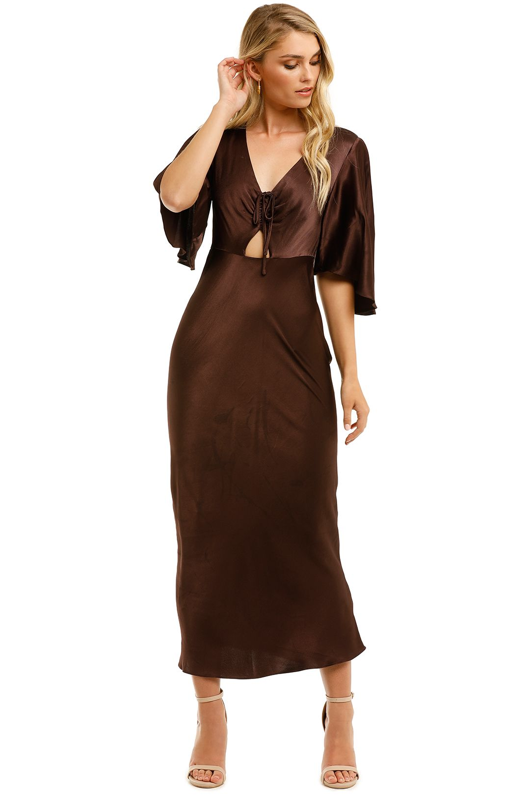 Shona-Joy-Wright-Flutter-Sleeve-Bias-Midi-Dress-Espresso-Front