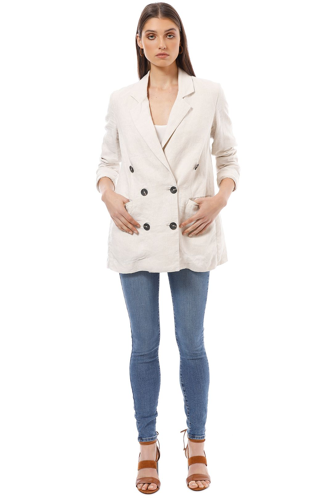 Shona Joy - Atticus Linen Blazer - Natural Cream - Front