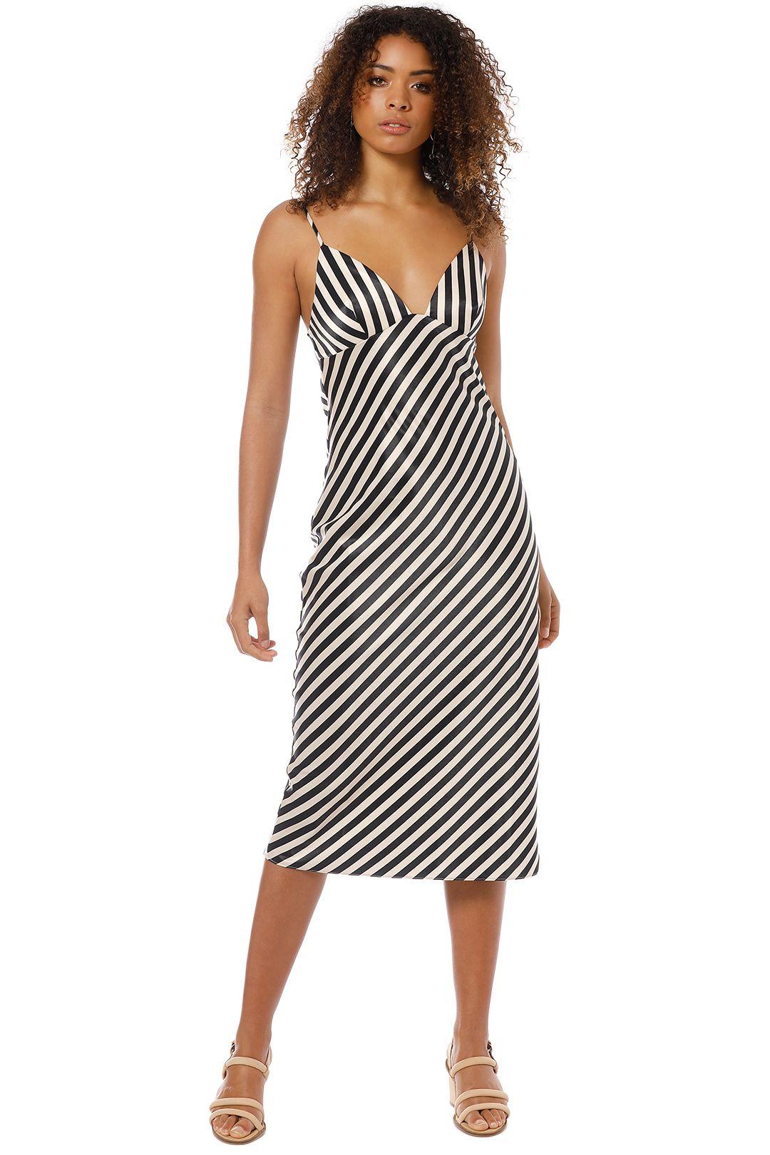 Shona Joy - Bias Slip Midi Dress - Stripe - Front