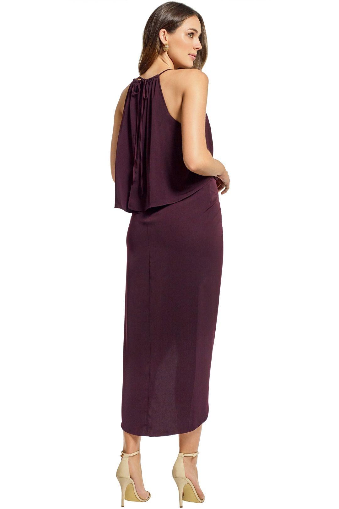 Shona Joy - Frill High Neck Drape Maxi Dress - Aubergine - Back
