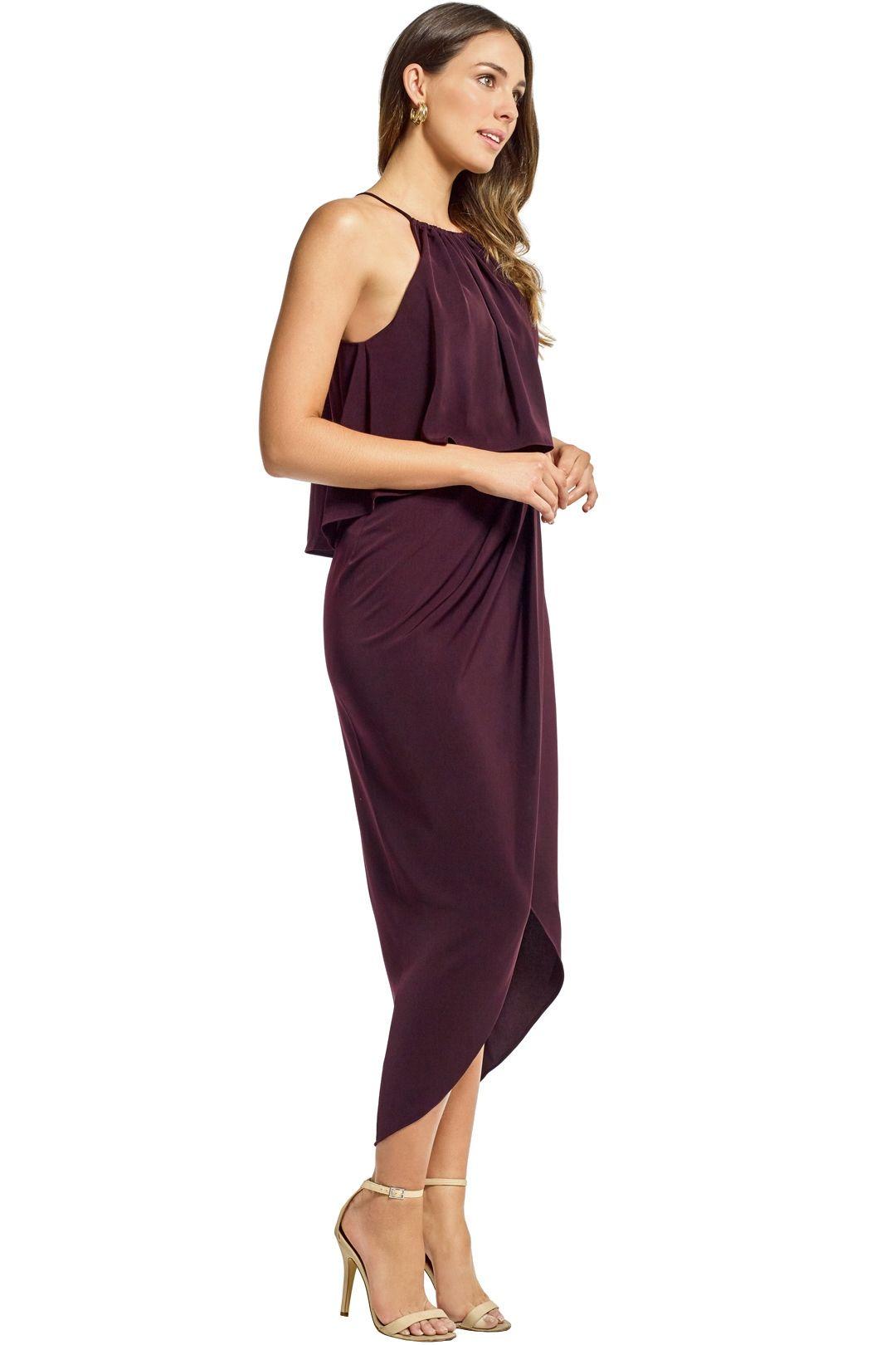 Shona Joy - Frill High Neck Drape Maxi Dress - Aubergine - Side