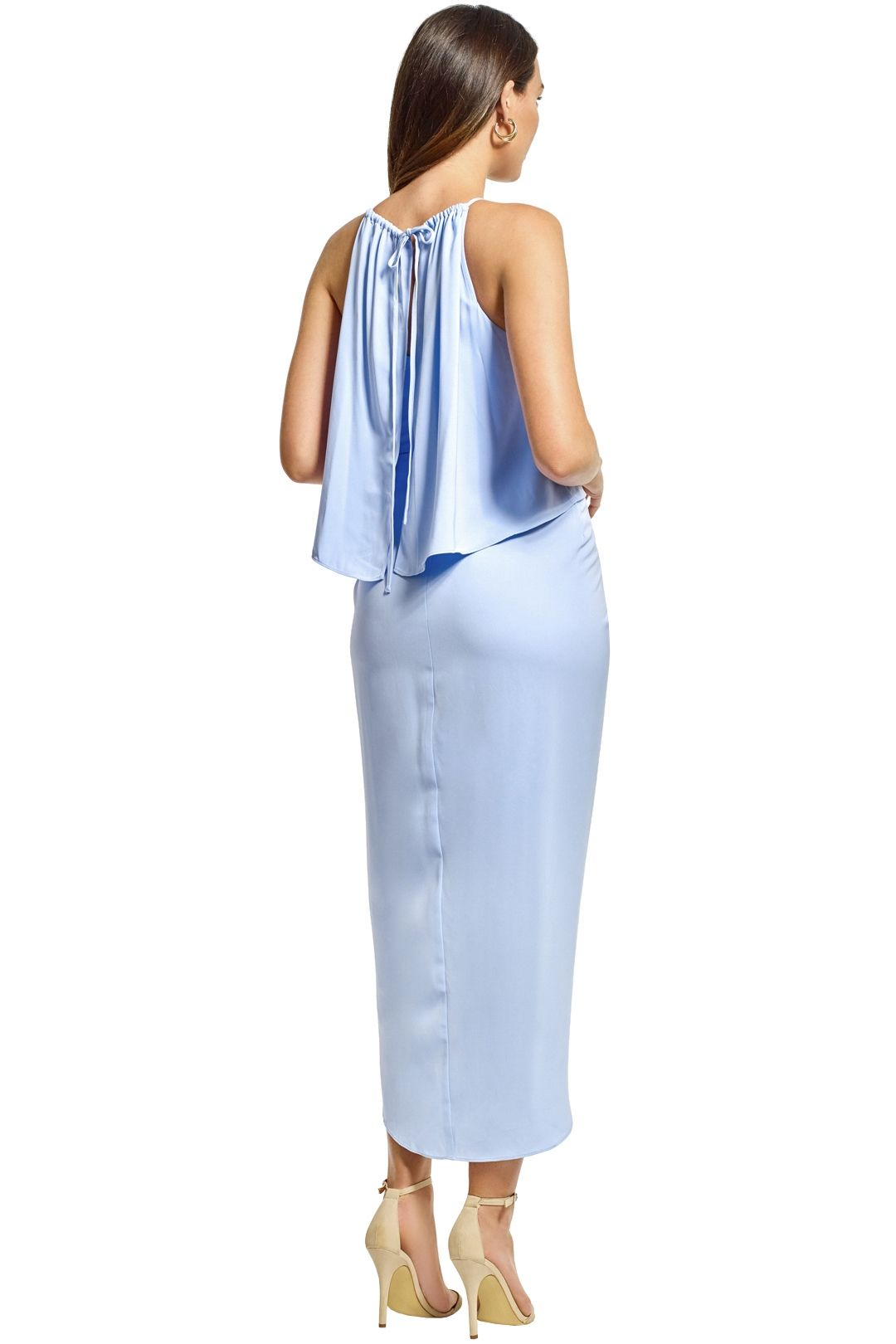 Shona Joy - Frill High Neck Drape Maxi Dress - Cornflower Blue - Back