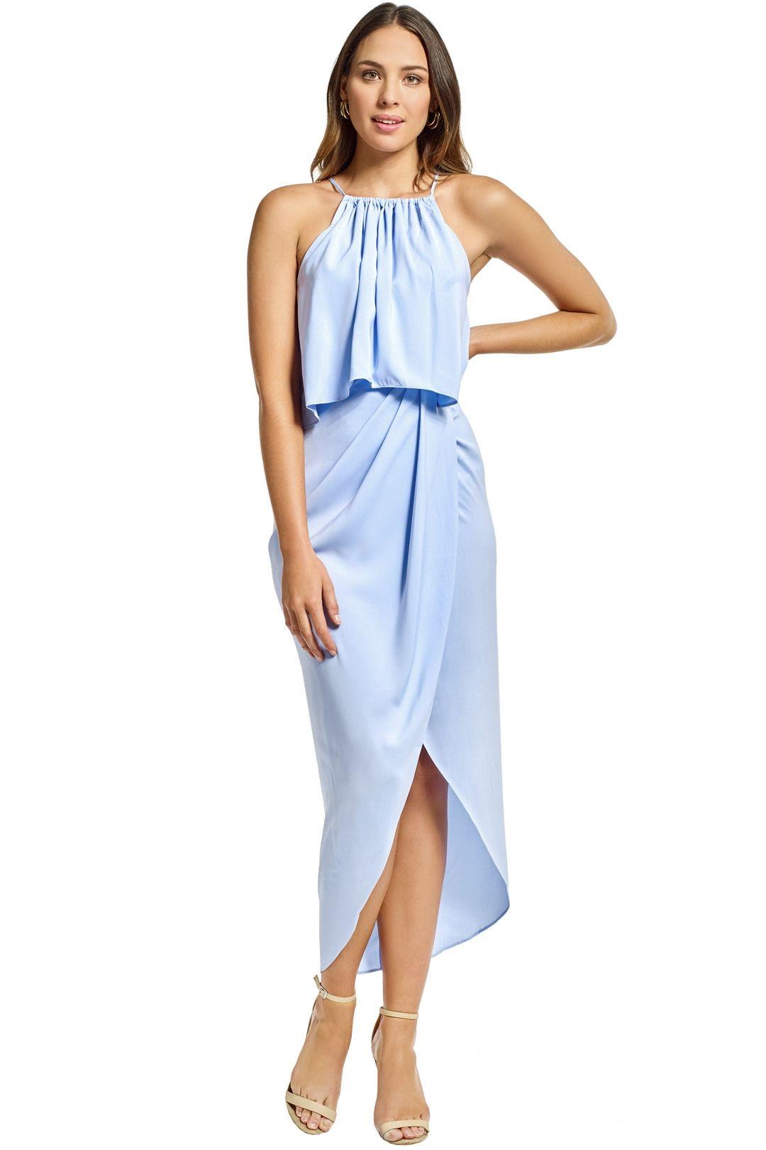Shona Joy - Frill High Neck Drape Maxi Dress - Cornflower Blue - Front