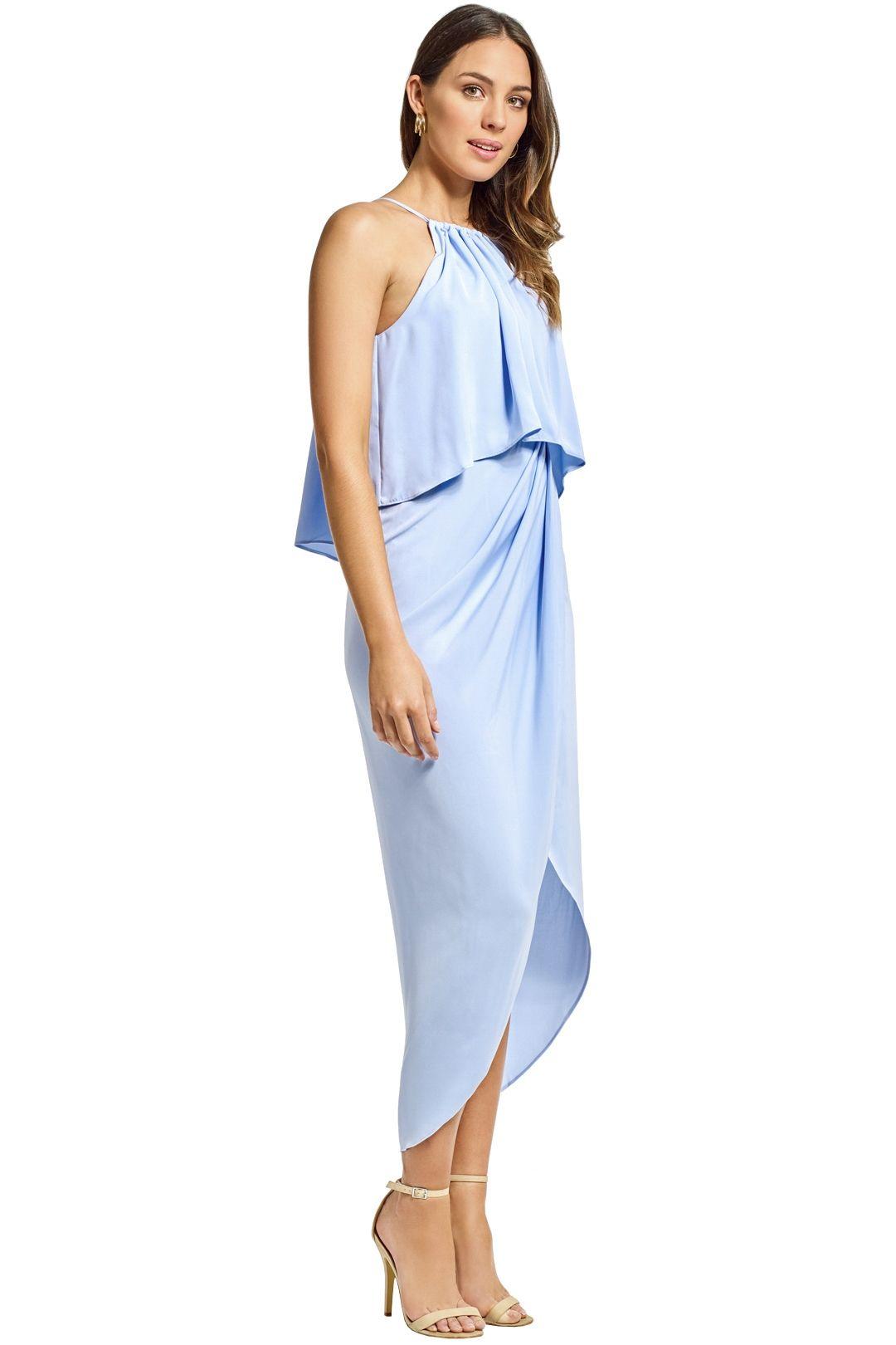 Shona Joy - Frill High Neck Drape Maxi Dress - Cornflower Blue - Side