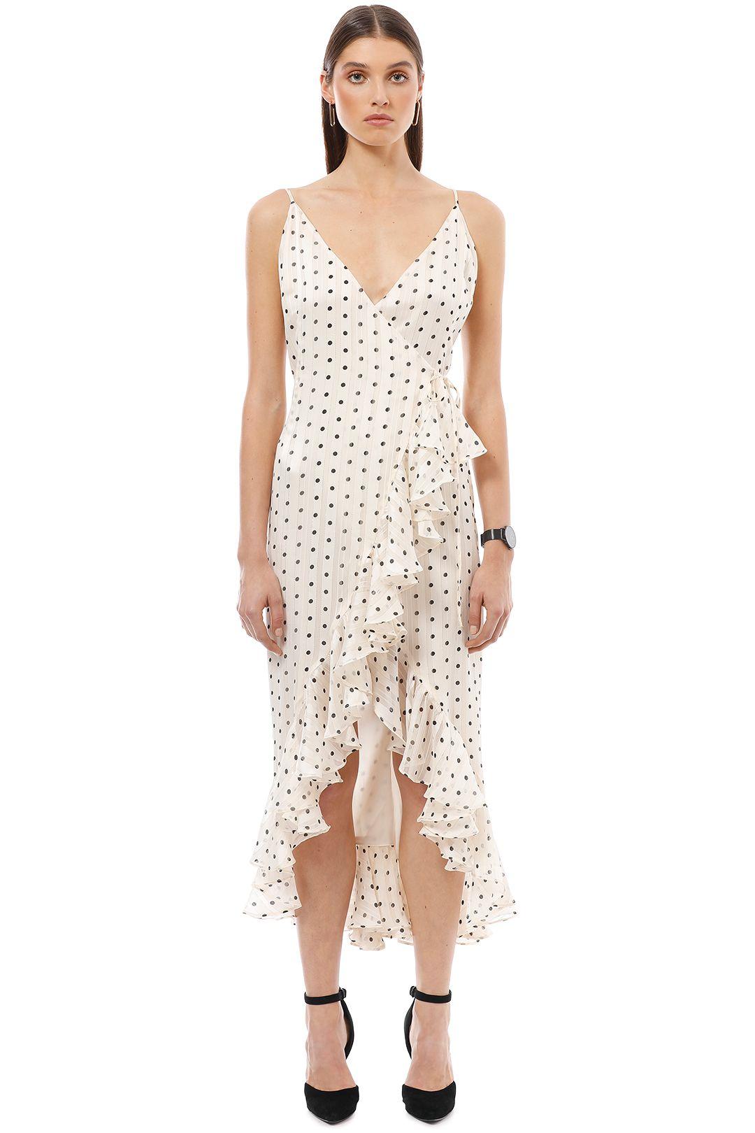 Shona Joy - Karina Cocktail Wrap Dress - White Polka - Front