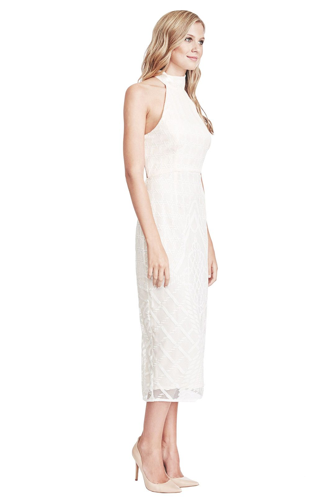 Shona Joy - Maddalena High Neck Midi Dress - Side - Ivory
