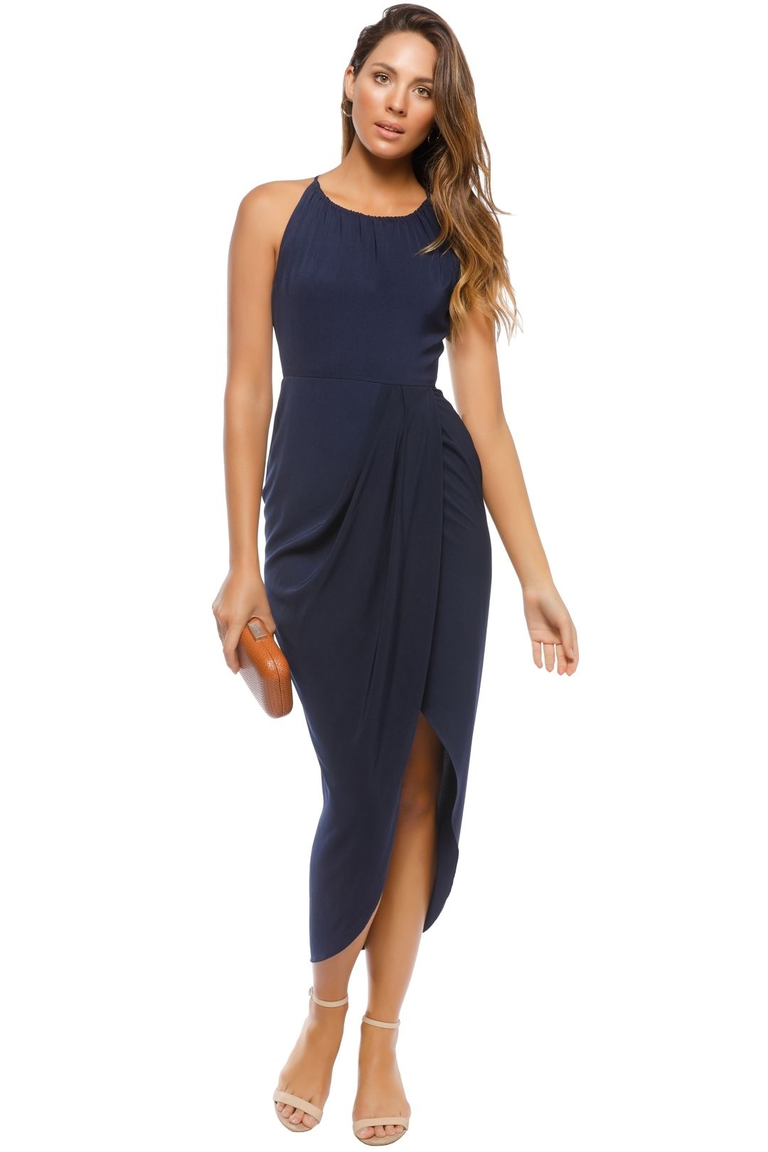 Shona Joy - Navy Core High Neck Ruched - Navy - Front