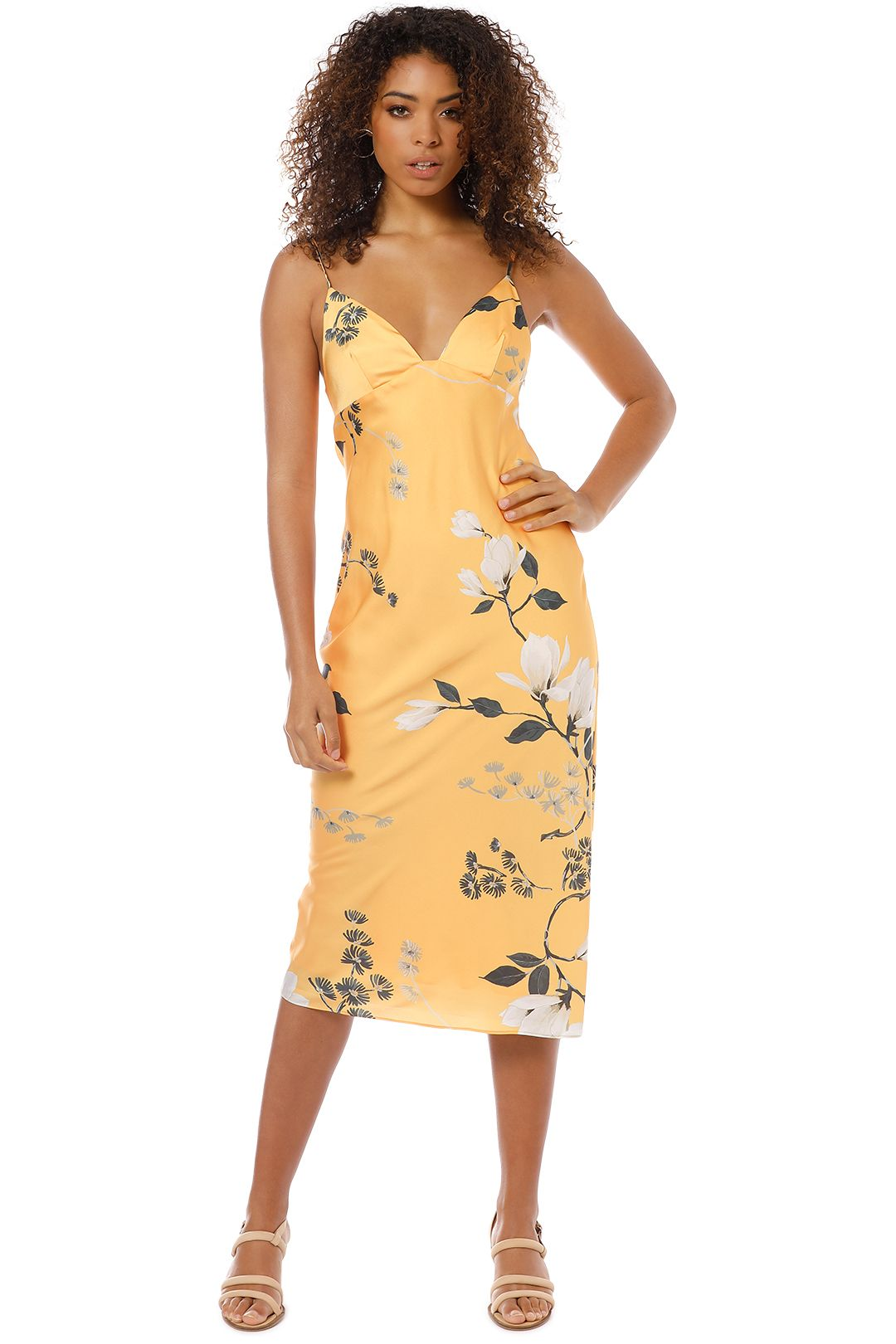 Shona Joy - Rylant Bias Slip Midi Dress - Yellow - Front