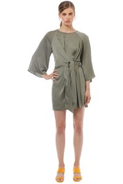 Shona Joy - Sawyer Tie Front Mini Dress - Khaki - Front