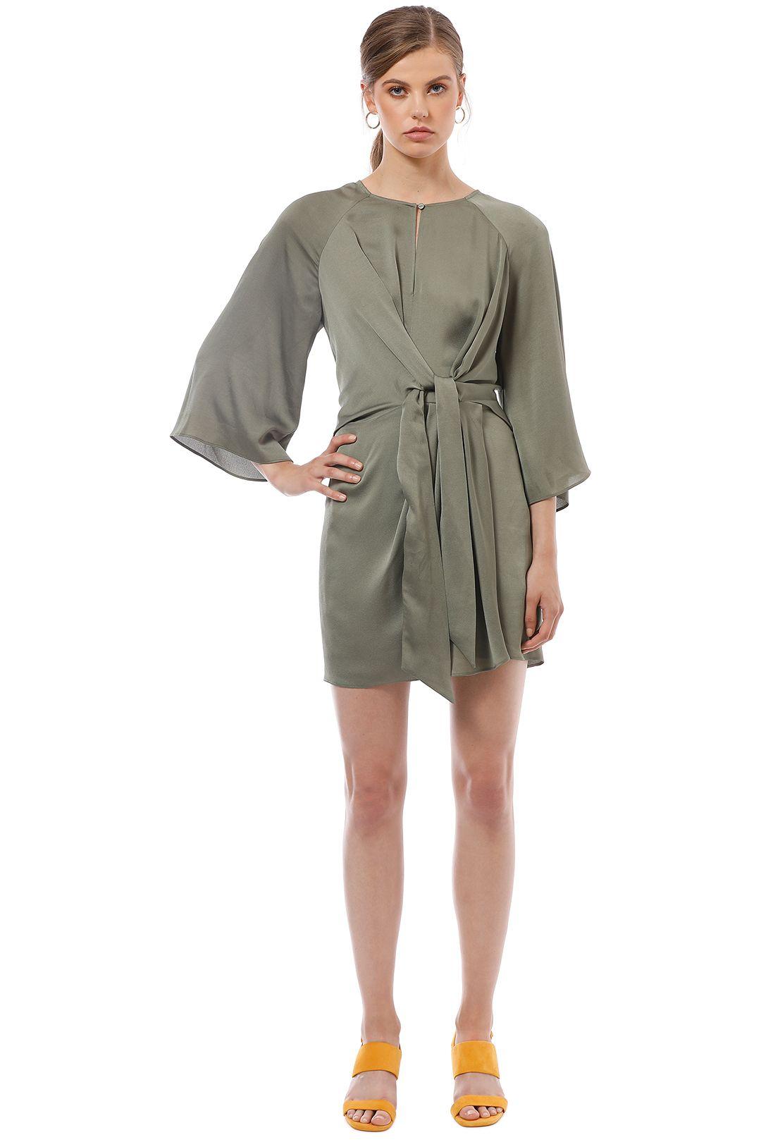 Shona Joy - Sawyer Tie Front Mini Dress - Khaki - Front