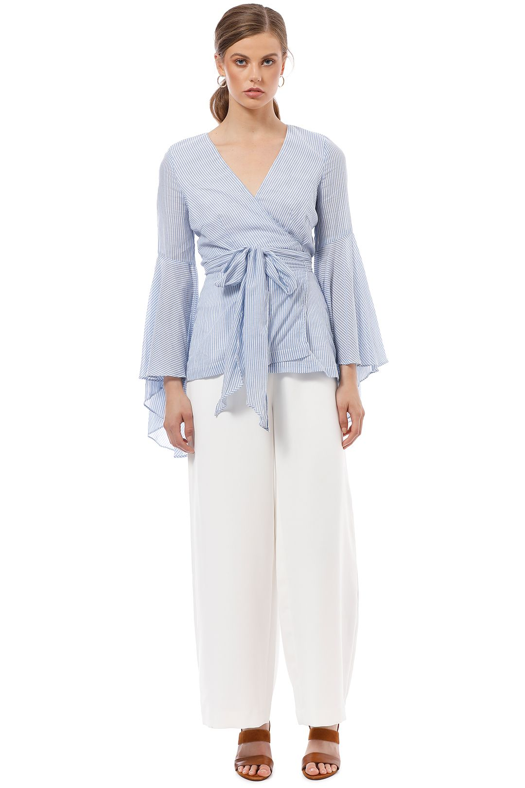 Shona Joy - St Martin Flared Sleeve Top - Blue - Front