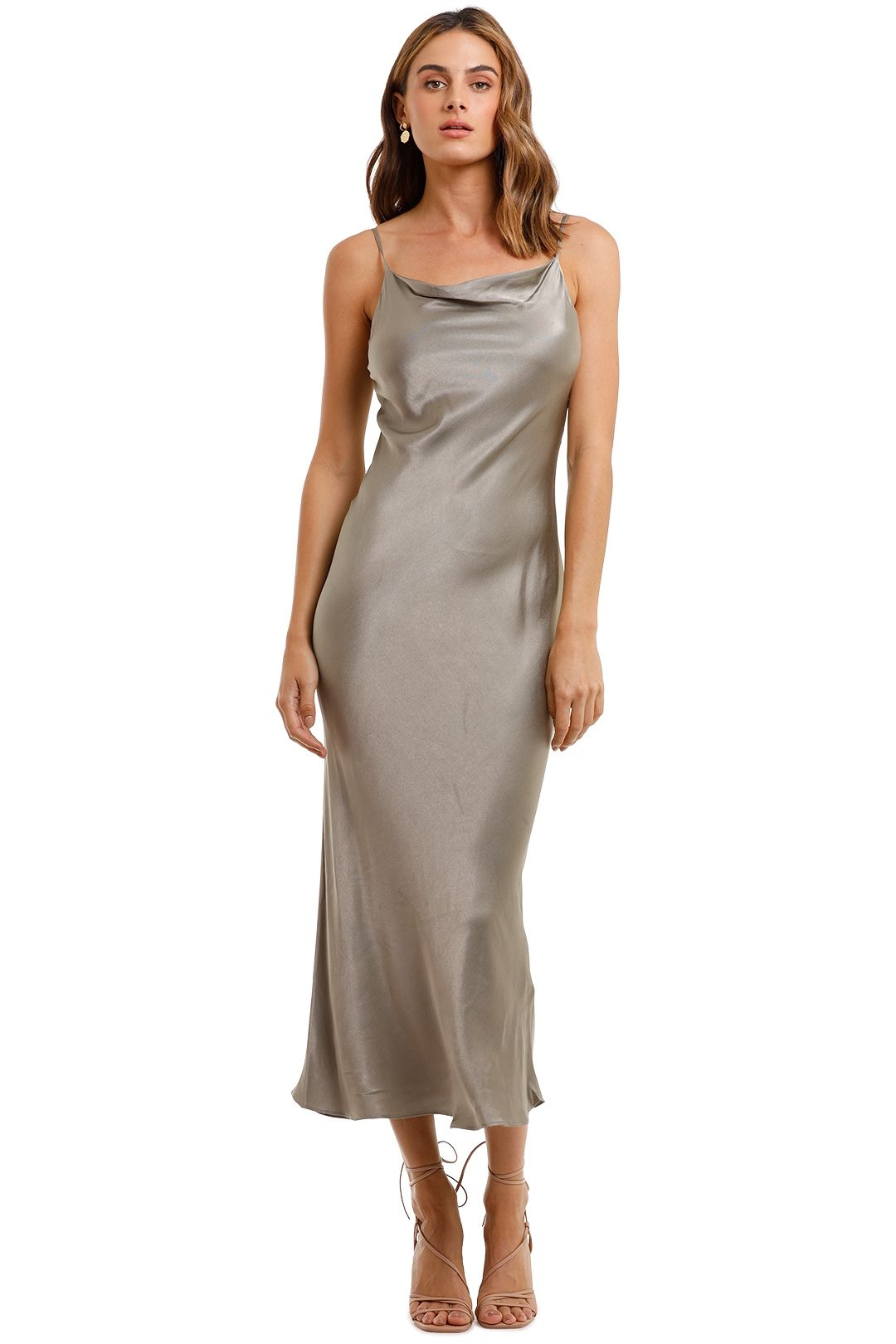 Shona Joy Bias Cowl Midi Dress Sage