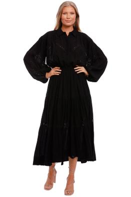 Shona Joy Chevron Balloon Sleeve Midi Dress