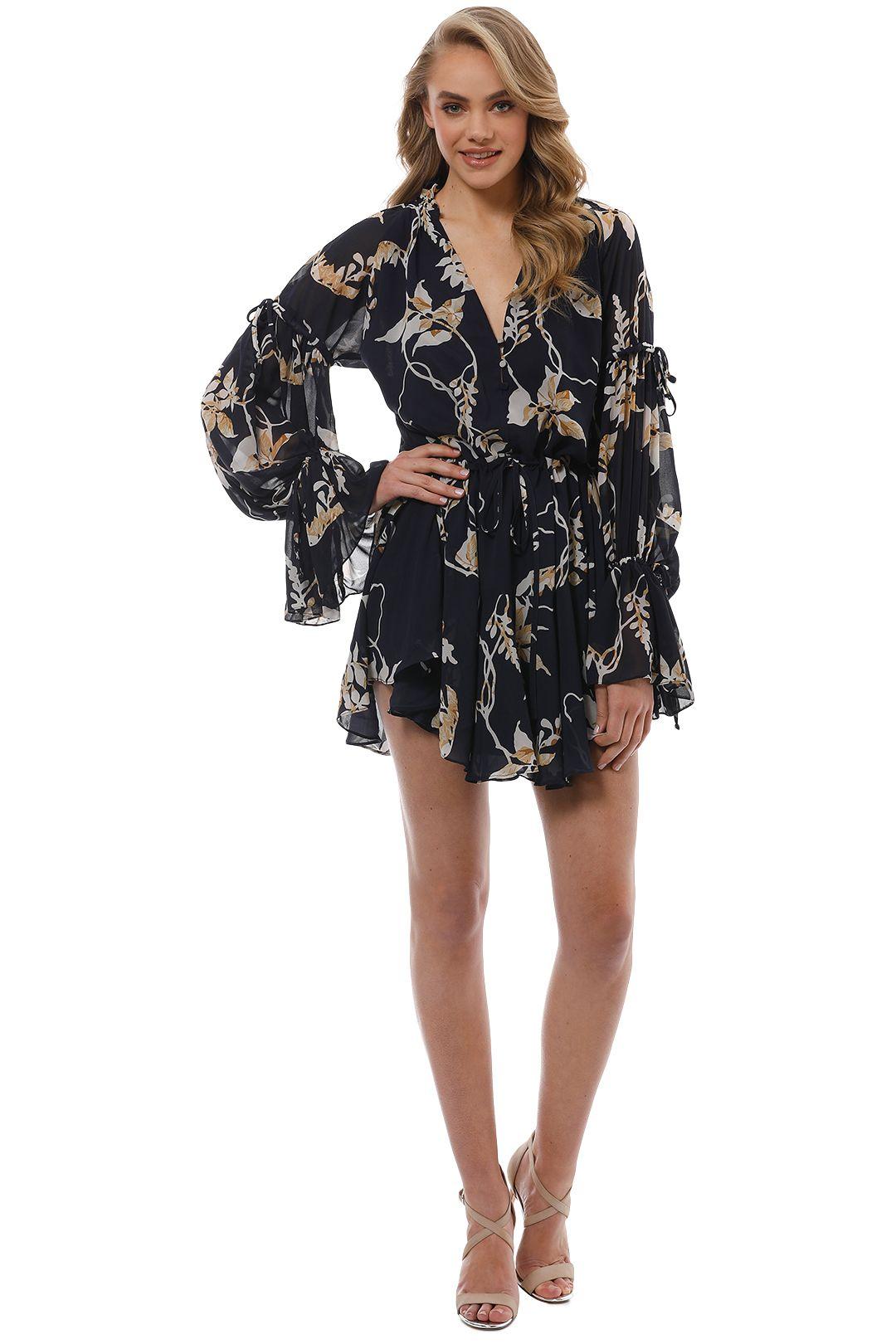 Shona Joy - Curacao Tie Sleeve Mini Dress - Front