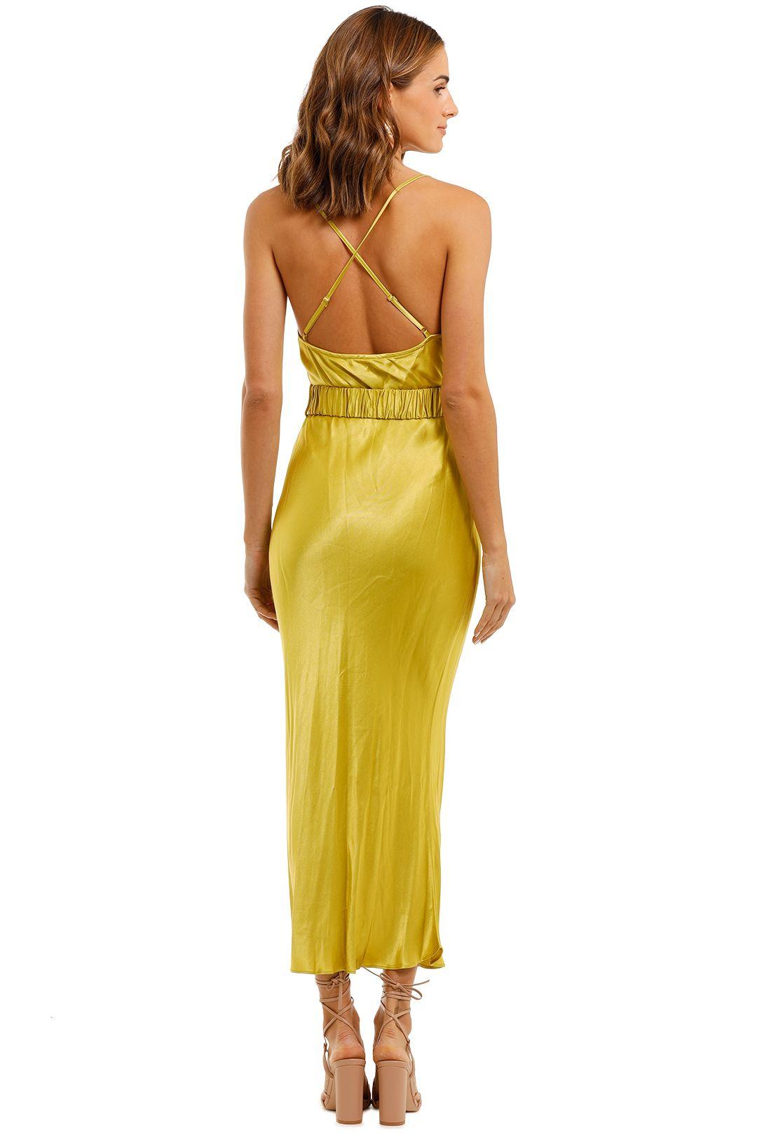 Shona Joy Gala Bias Midi Dress Lime Cross Strap Back