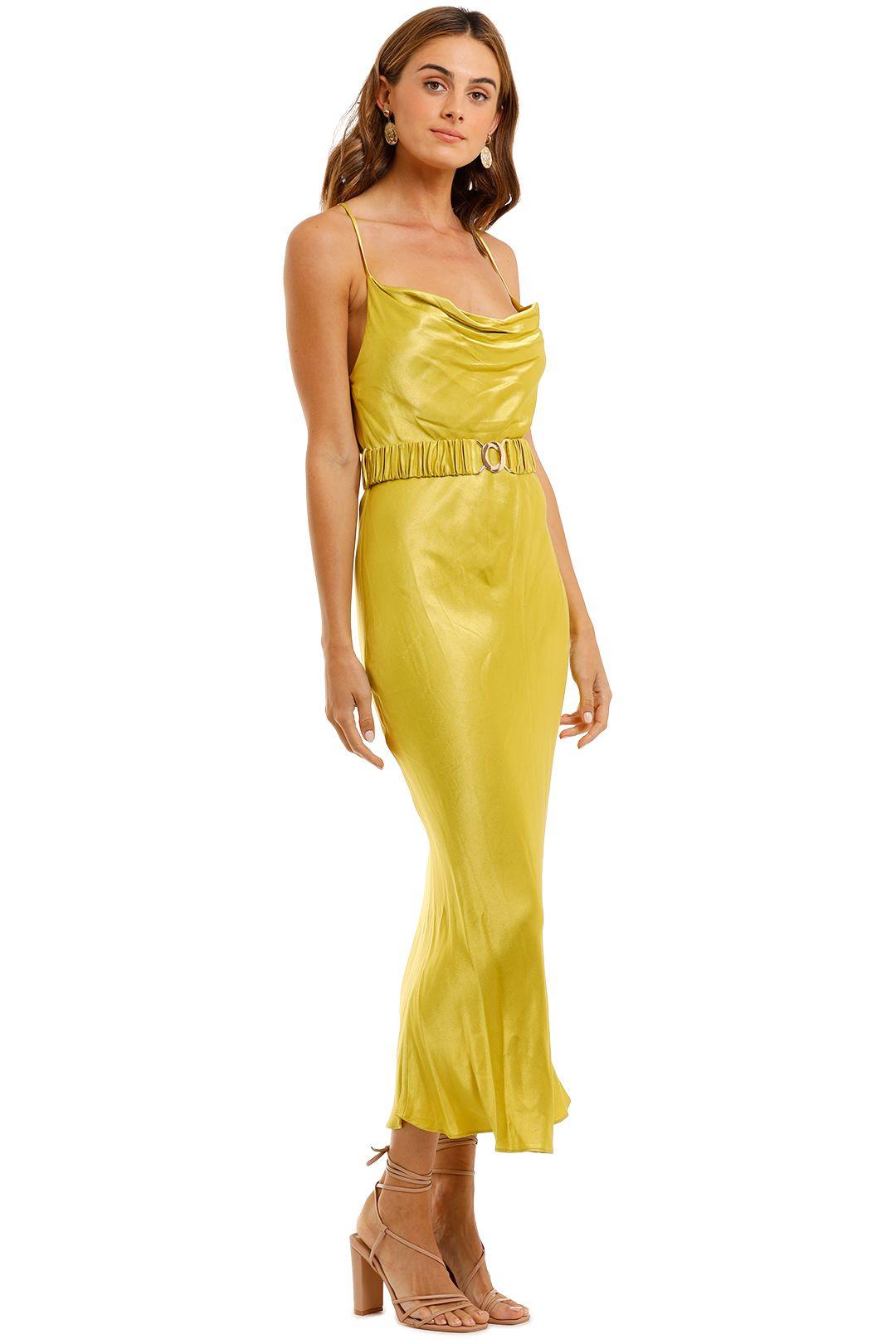 Shona Joy Gala Bias Midi Dress Lime Slip