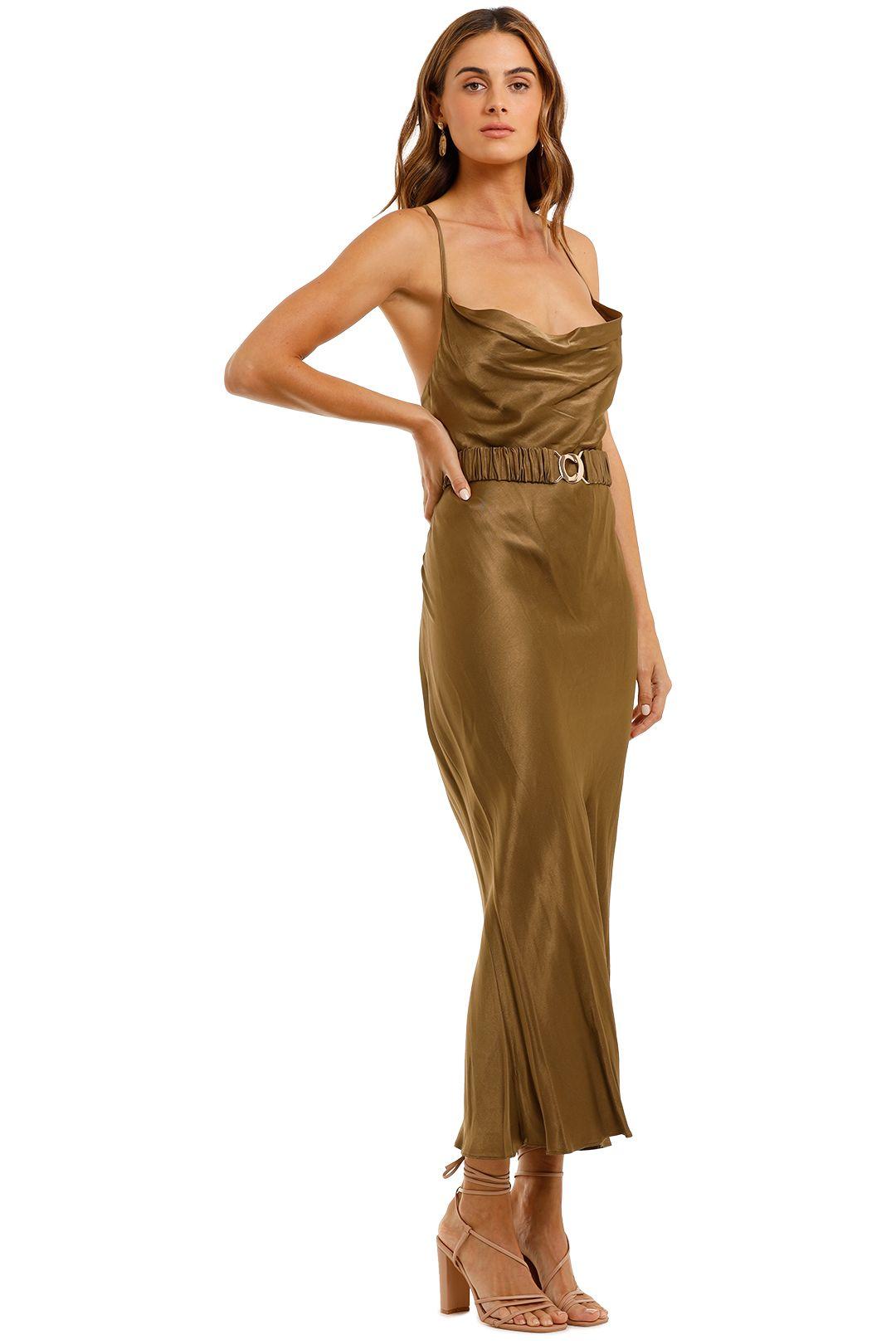 Shona Joy Gala Bias Midi Dress Olive