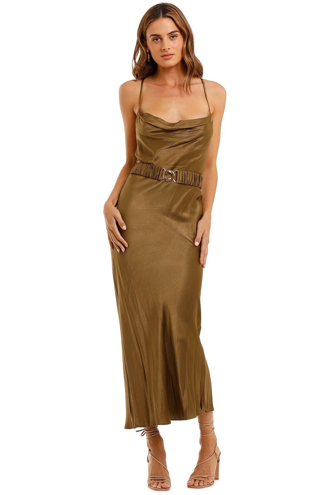 Shona Joy Gala Bias Midi Dress Olive Cowl Neck