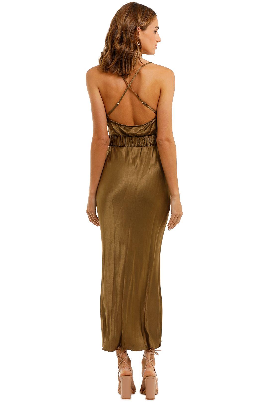 Shona Joy Gala Bias Midi Dress Olive Slip