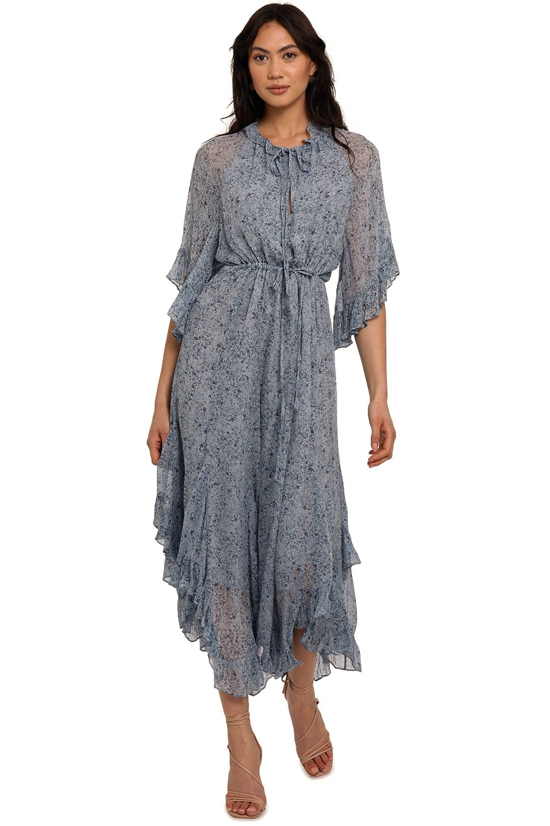 Shona Joy Harmony Flutter Sleeve Midi Dress