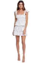 Shona Joy Shirred Mini Dress Ivory Print white