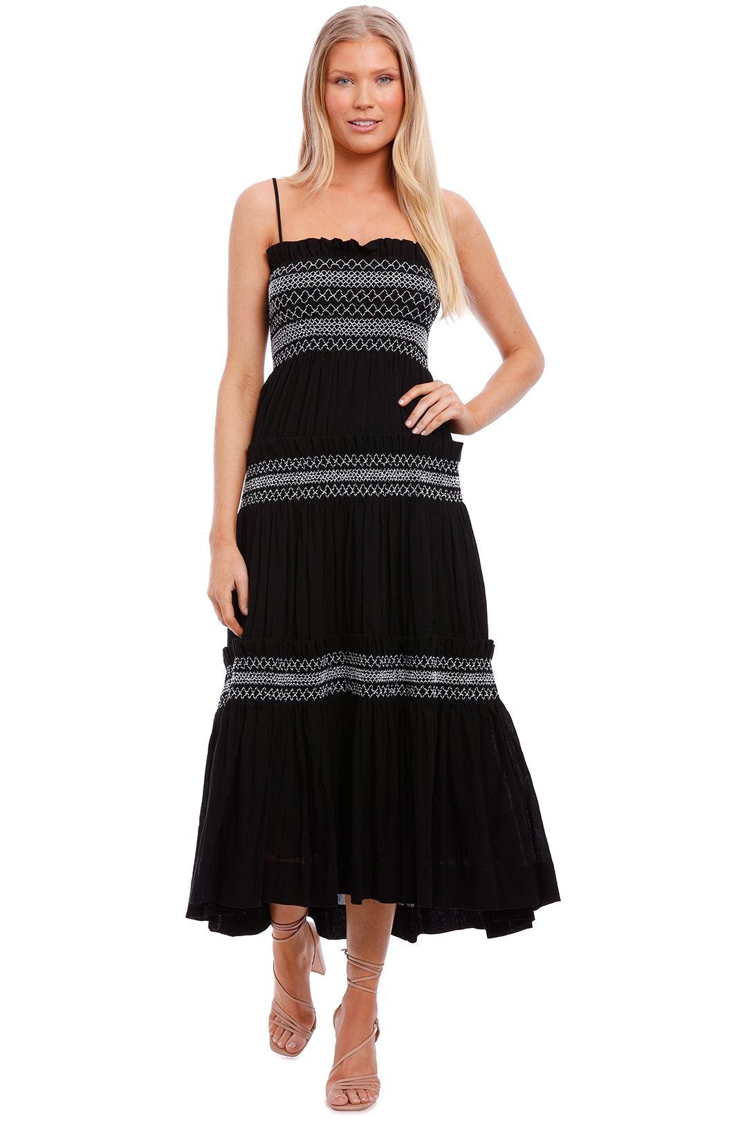 Shona Joy Shirred Tiered Midi Dress