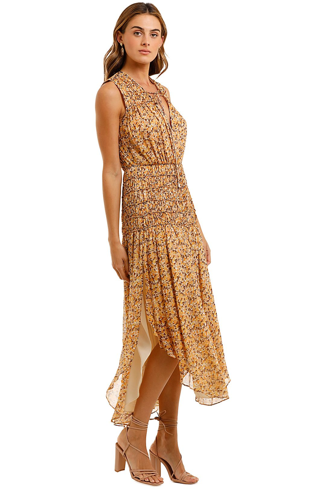 Shona Joy Sleeveless Corded Midi Dress Hi Low