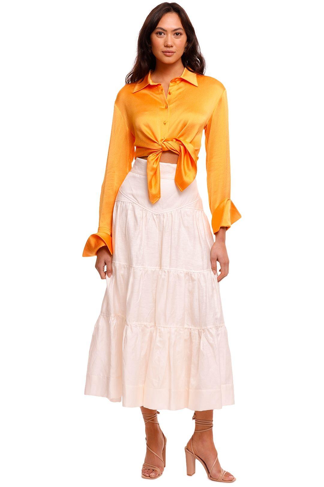 Shona Joy Tiered Midi Skirt cream
