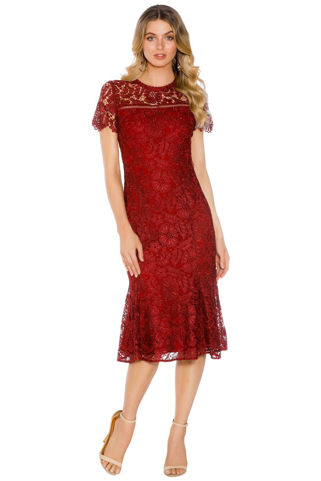 Shoshanna - Park Midi Dress - Red - Front