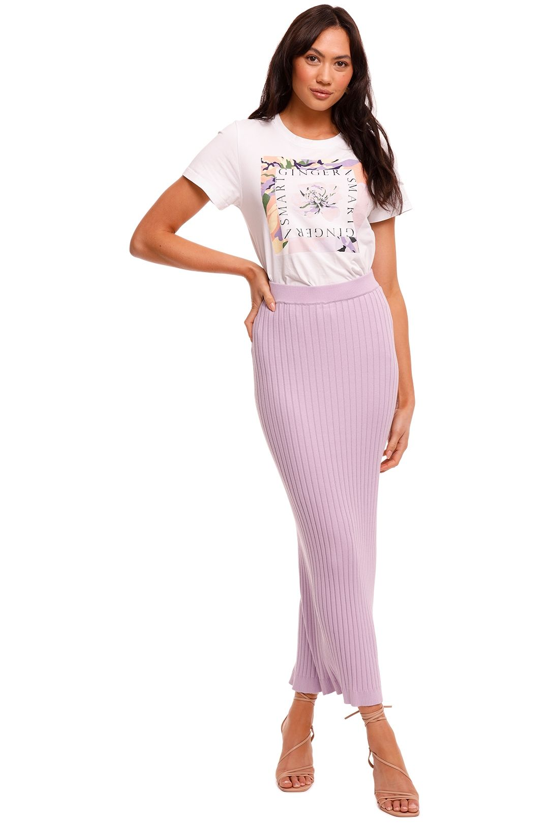 Significant Other Ariana Lilac Knit Maxi Skirt