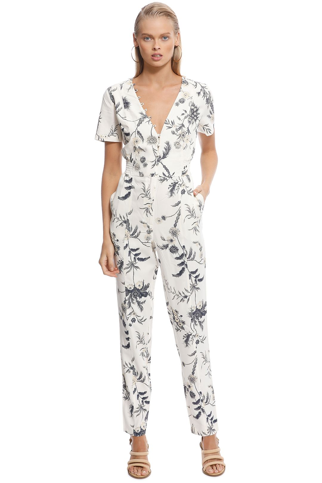 SIR The Label - Florentine Panelled Jumpsuit - Ivory - Front
