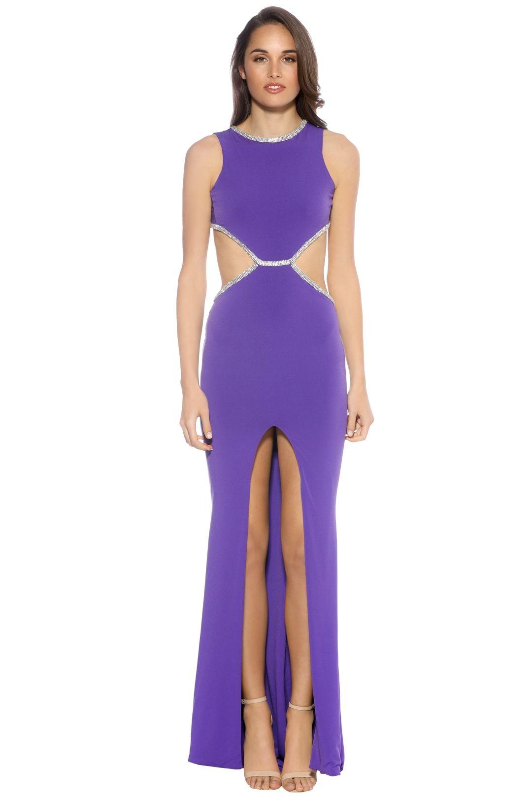 SKIVA - Open Back Evening Dress - Purple - Front
