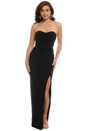 Skiva - Strapless Split Evening Dress - Black - Front