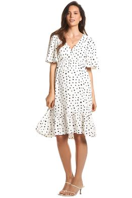 Soon-Maternity-Anika-Frill-Dress-White-Polka-Dot-Front