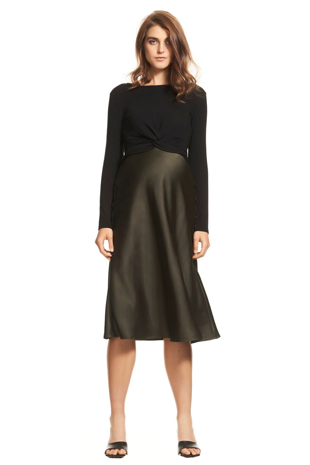 Soon-Maternity-Bias-Slip-Skirt-Olive-Front