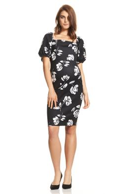 Soon-Maternity-Carrie-Puff-Sleeve-Dress-Black-Floral-Front