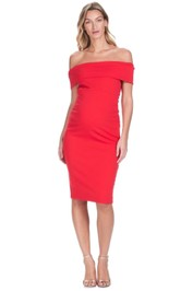 Soon-Maternity-Claire-Off-Shoulder-Dress-Red-Front