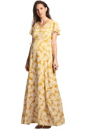 Soon-Maternity-Elizabeth-Maxi-Dress-Yellow-Sun-Print-Front