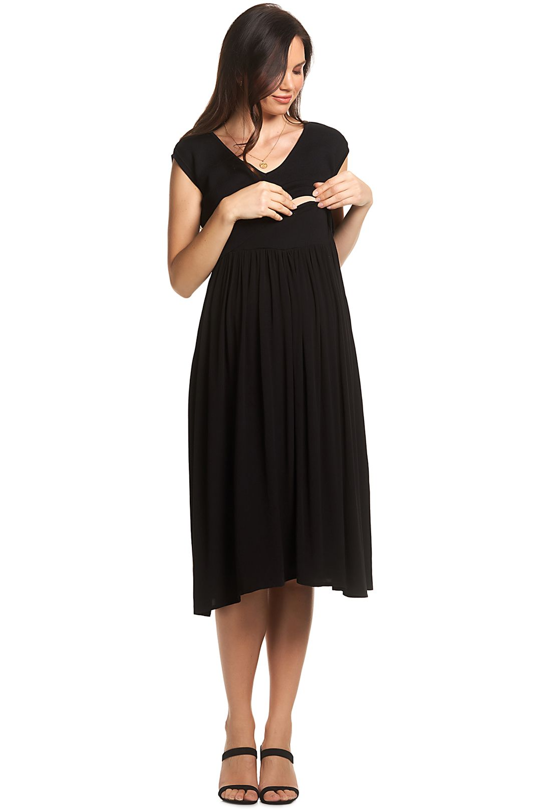 Soon-Maternity-Francis-Feeding-Midi-Dress-Black-Front-Two
