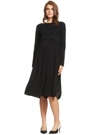 Soon-Maternity-Francis-Long-Sleeve-Dress-Navy-Speck-Front