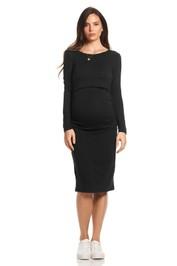 Soon-Maternity-Honor-Long-Sleeve-Feeding-Dress-Black-Front