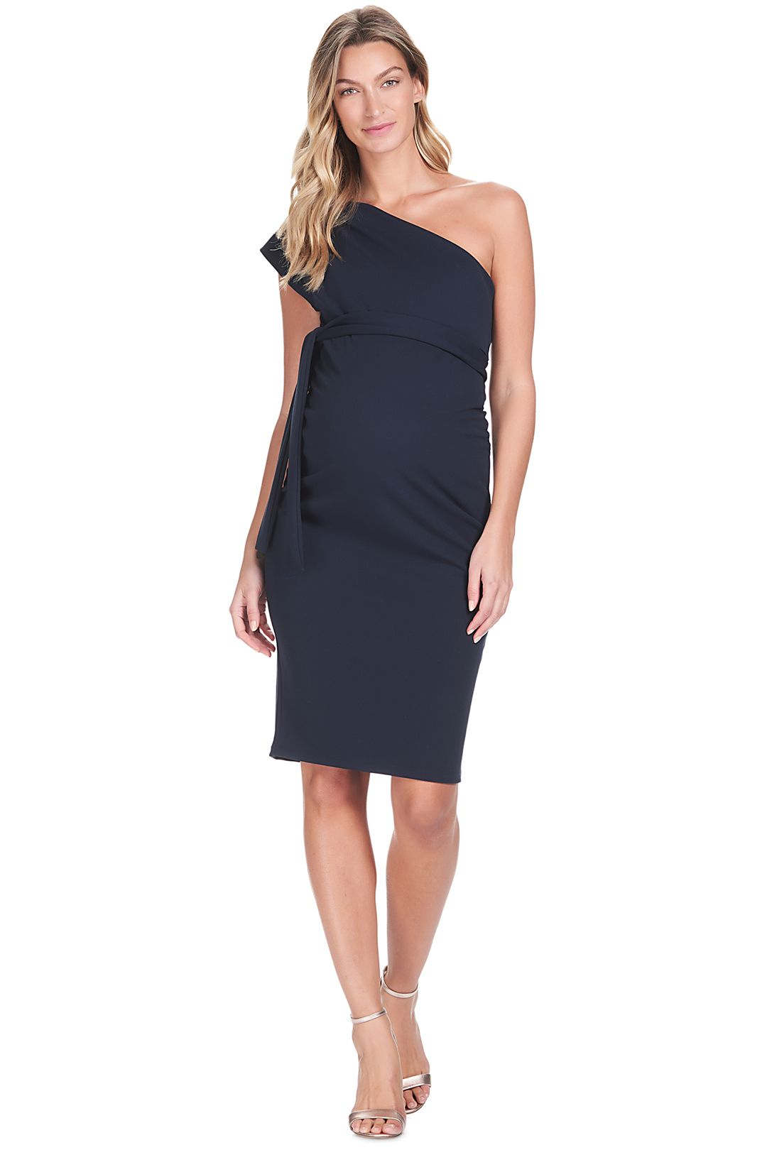 Soon-Maternity-Julia-One-Shoulder-Dress-Navy-Front