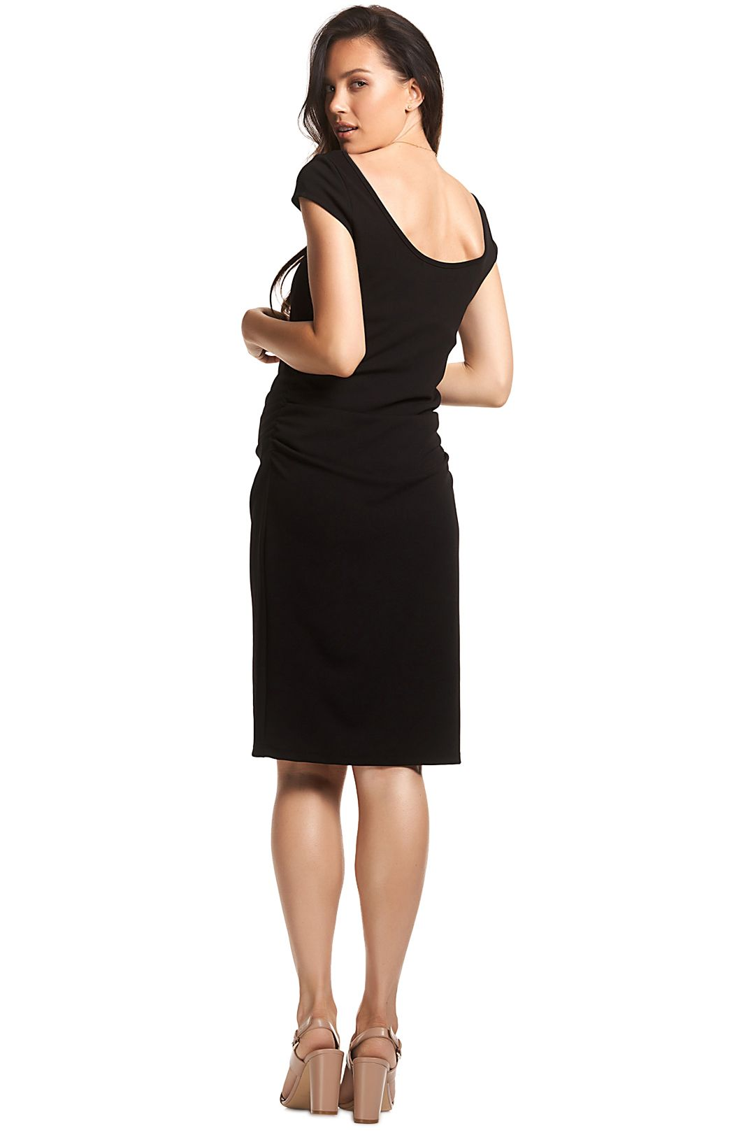 Soon-Maternity-Leo-Cap-Sleeve-Dress-Black-Back