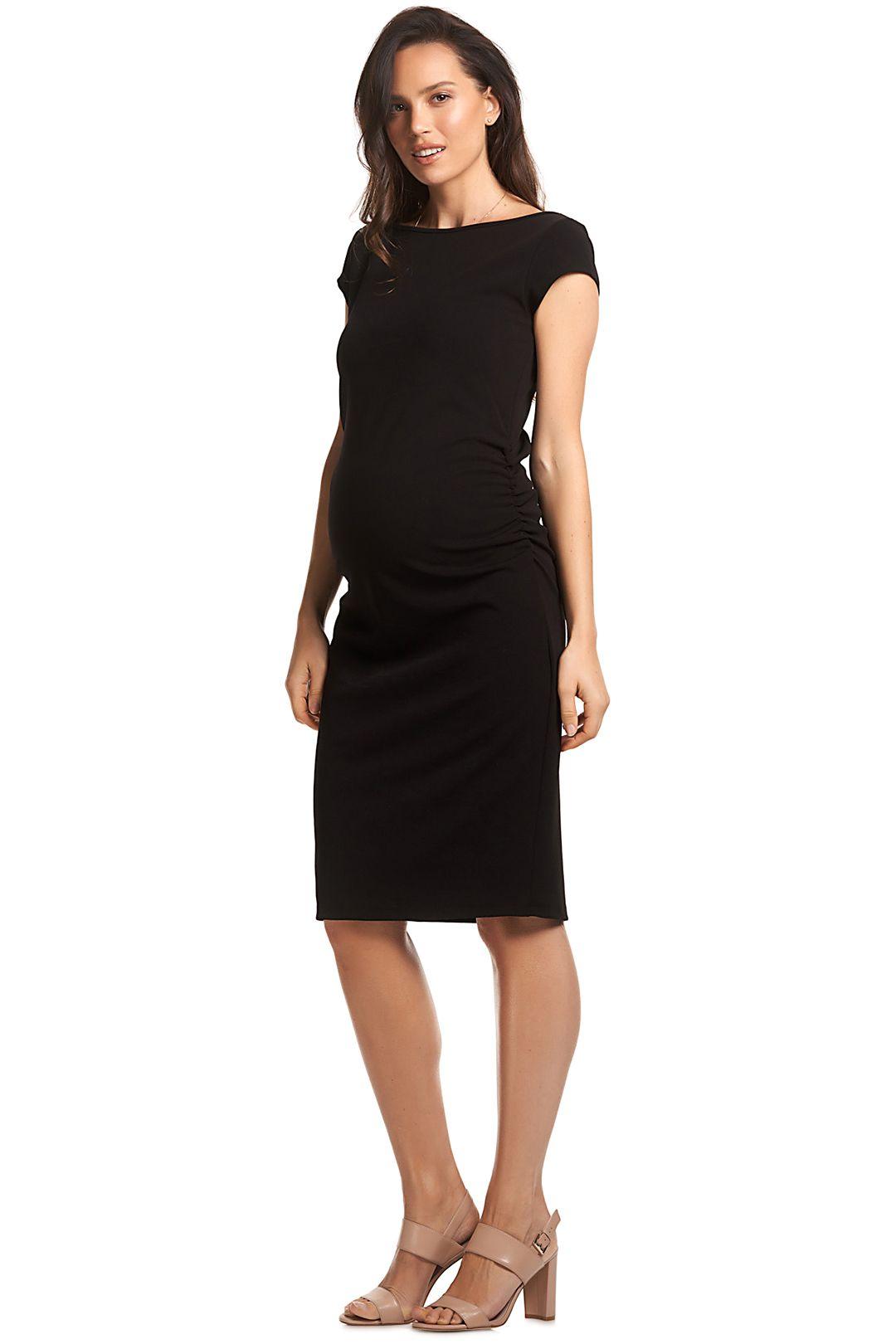 Soon-Maternity-Leo-Cap-Sleeve-Dress-Black-Side2