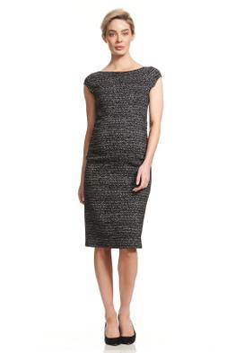 Soon-Maternity-Leo-Cap-Sleeve-Dress-Black-Jacquard-Front