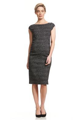 Soon-Maternity-Leo-Cap-Sleeve-Dress-Black-Jacquard-Front