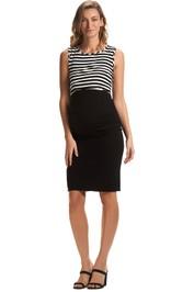 Soon-Maternity-Midi-Work-Skirt-Black-Front